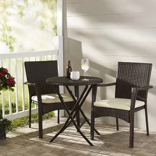 outdoor bistro table and chairs set black chair covers sets you ll love wayfair grampian 3 piece