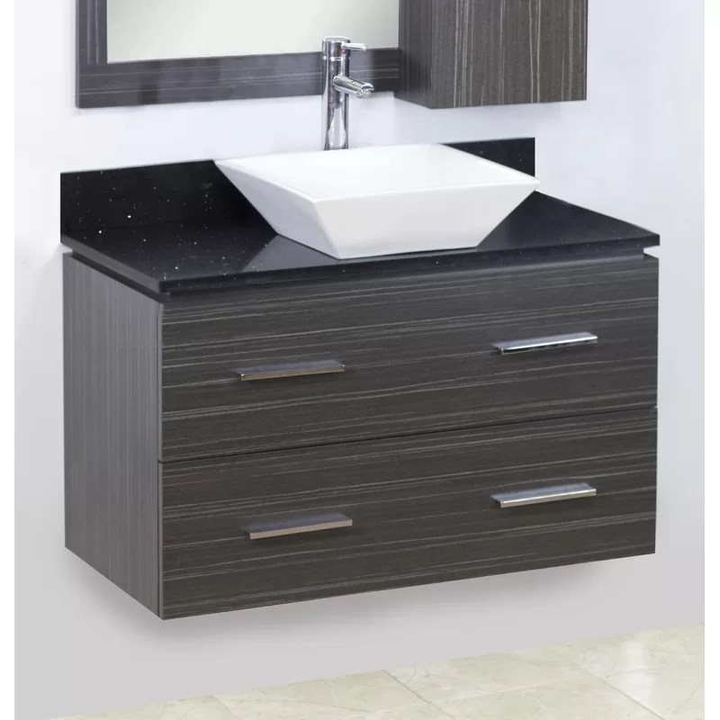 36 Single Modern Wall Mount Bathroom Vanity Set Hardware Finish: Chrome