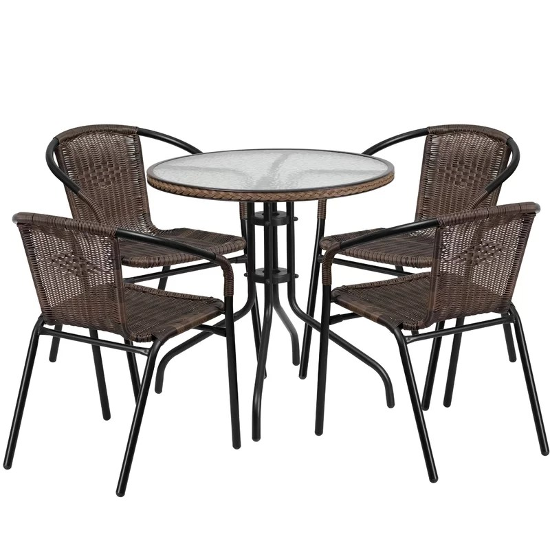 bistro chairs dining room best office chair for back outdoor 5 piece set wayfair quickview