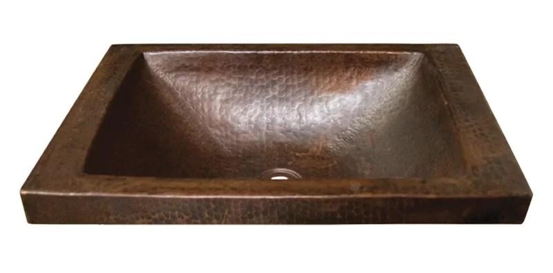 antique copper metal rectangular drop in bathroom sink