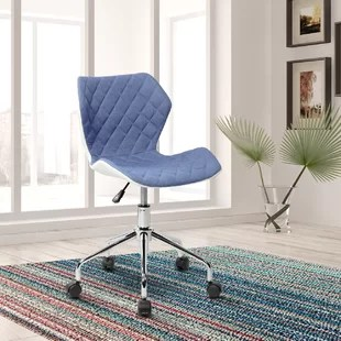 blue leather office chair industrial dining chairs you ll love wayfair quickview