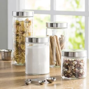 canisters kitchen cheap towels jars you ll love wayfair basics 4 piece round screw top glass canister set