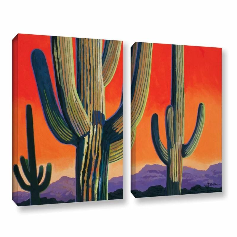 Saguaro Dawn by Rick Kersten 2 Piece Graphic Art Wrapped Canvas Set Size: 24 H x 36 W x 2 D