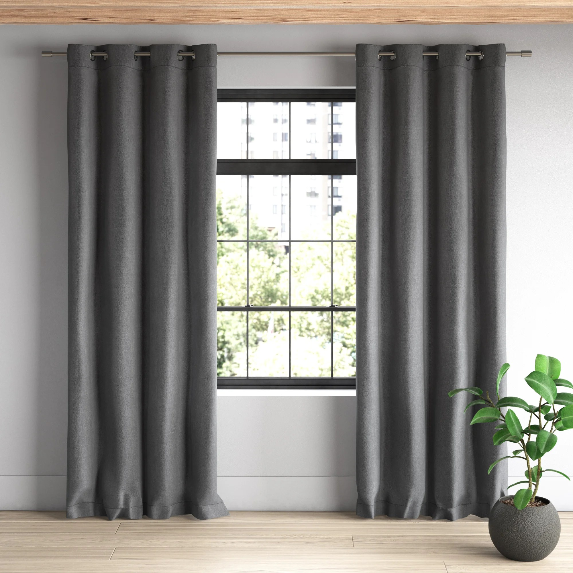 alvis heathered linen look solid blackout grommet curtain panels