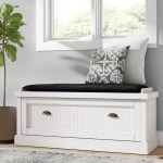 Beachcrest Home Rabin Wood Storage Bench Reviews Wayfair