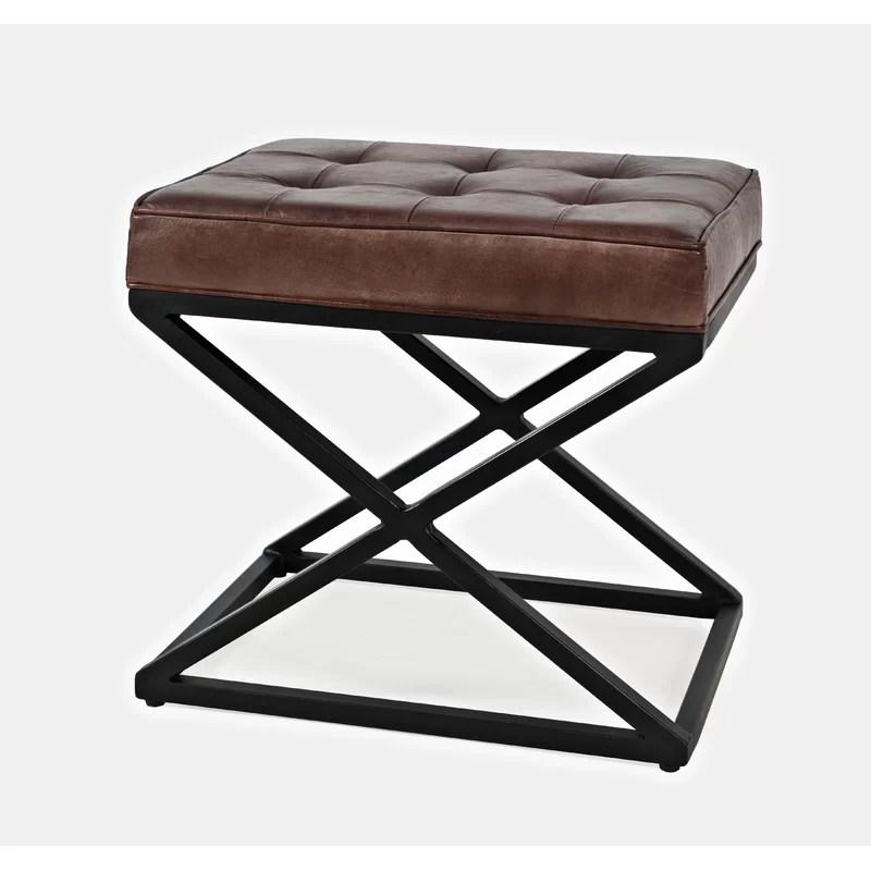 bridget 20 wide genuine leather tufted rectangle standard ottoman