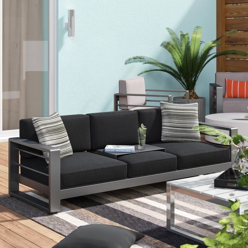 royalston 76 25 wide outdoor patio sofa with cushions