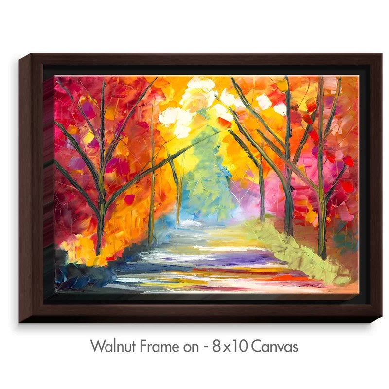 The Road Less Traveled by Jessilyn Park Painting Print on Wrapped Framed Canvas Size: 13.75 H x 17.75 W x 1.75 D Frame Color: Walnut