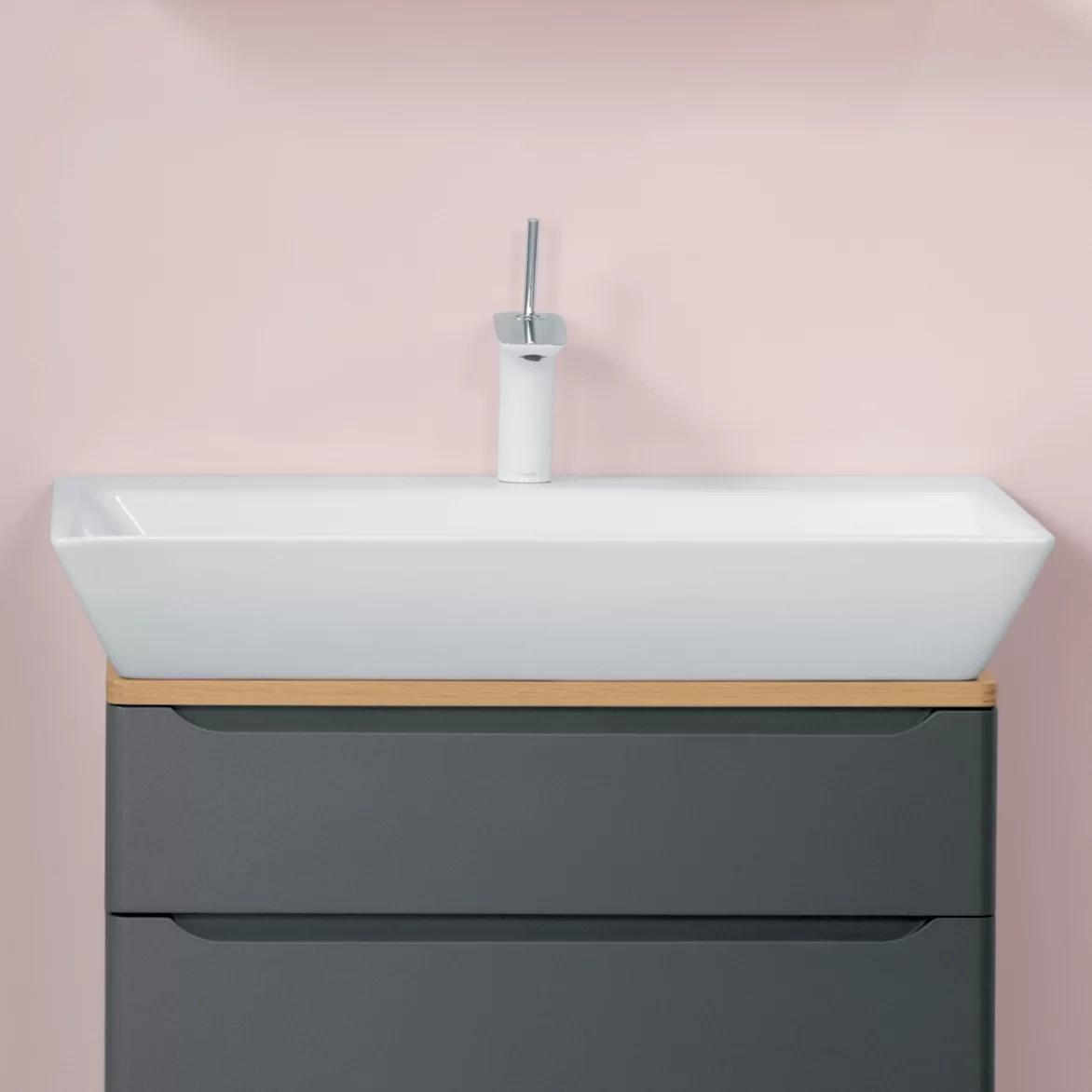 wide ceramic rectangular vessel bathroom sink