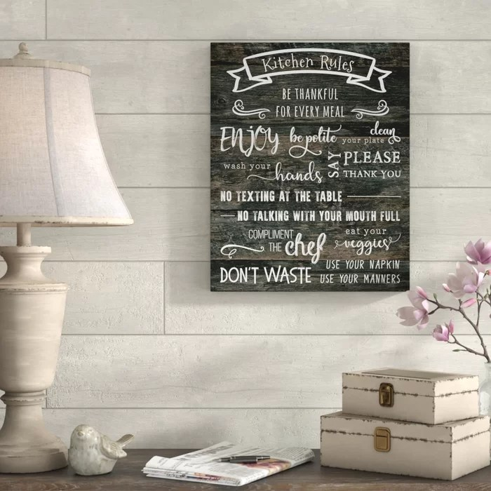 art for the kitchen cabinets houston gracie oaks rules textual on wrapped canvas wayfair ca