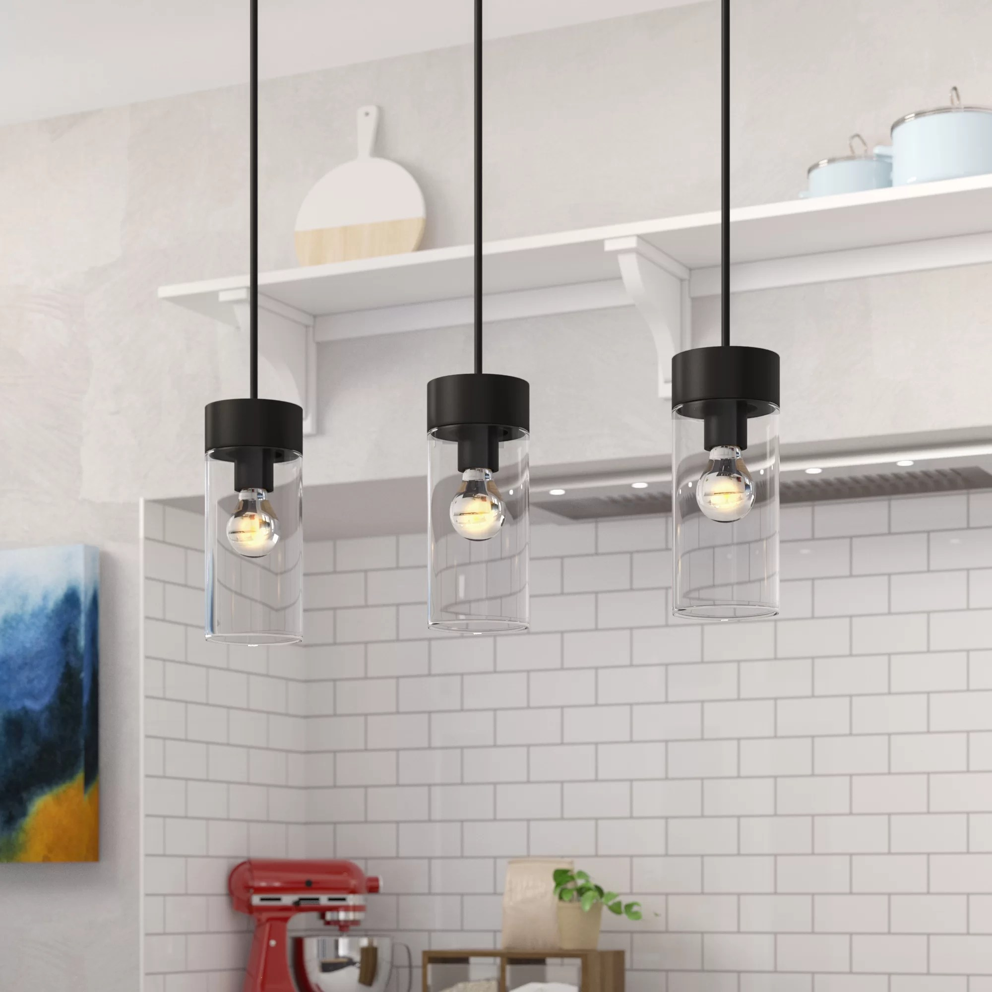 Brayden Studio Daniell 3 Light Kitchen Island Linear Pendant Reviews Wayfair