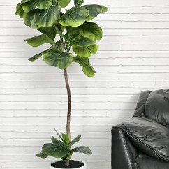Living Room Slipcovers Wallpaper For Rooms Ideas Latitude Run Fiddle-leaf Fig Floor Palm Tree In Pot ...