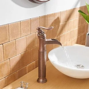 waterfall single handle vessel sink bathroom faucet with drain assembly