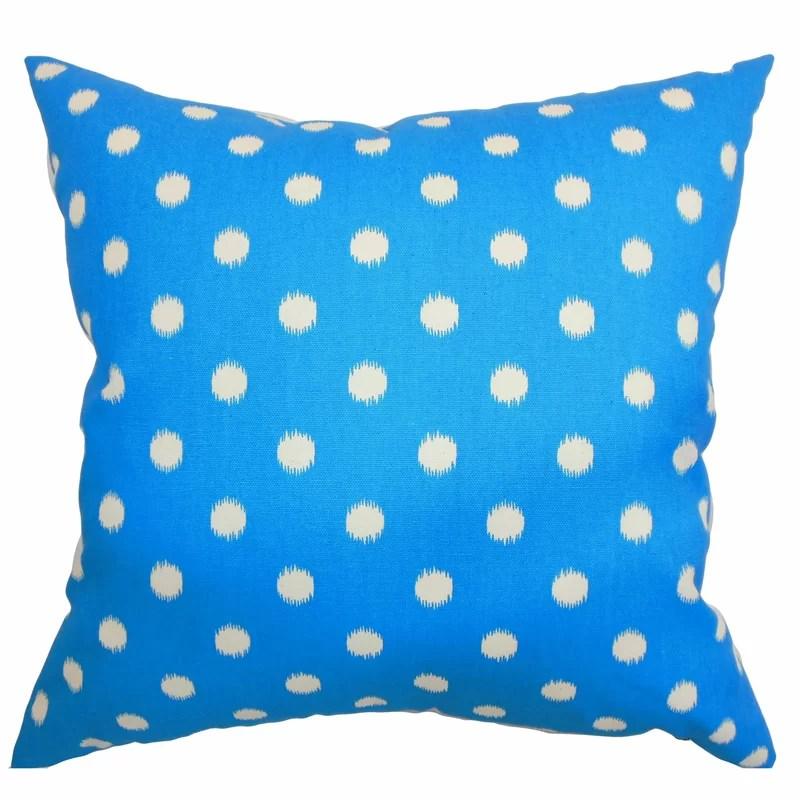 Bienville Ikat Dots Cotton Throw Pillow Color: Grasshopper Blue Natural Size: 18 H x18 W