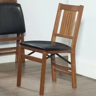 folding wooden chairs cobalt blue chair covers you ll love wayfair berkshire vinyl padded set of 2