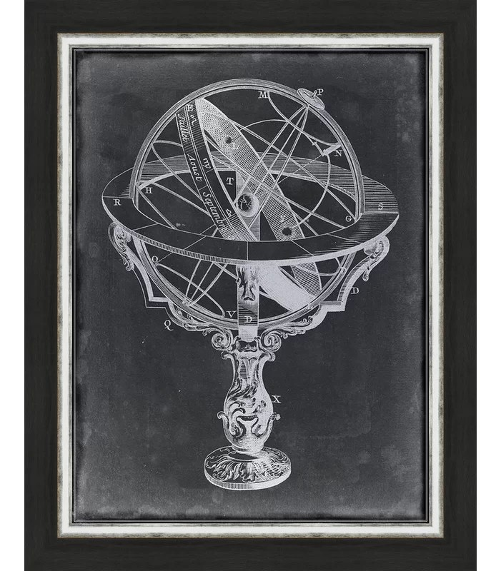 Trends Armillary Sphere on Charcoal II Framed Graphic Art