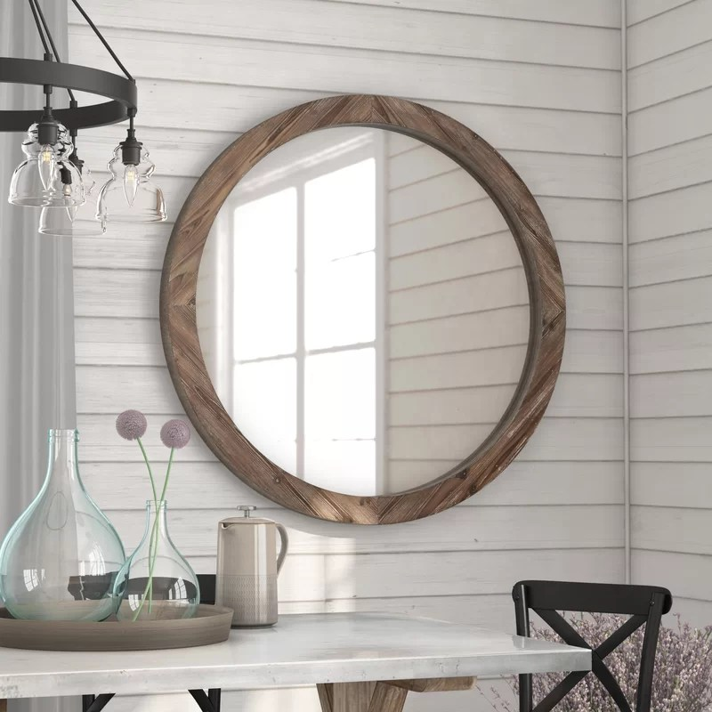 Union Rustic Booker Round Wood Wall Mirror  Reviews  Wayfair