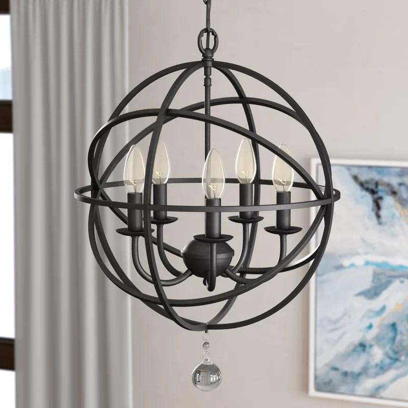 verlene foyer 5 light candle style globe chandelier