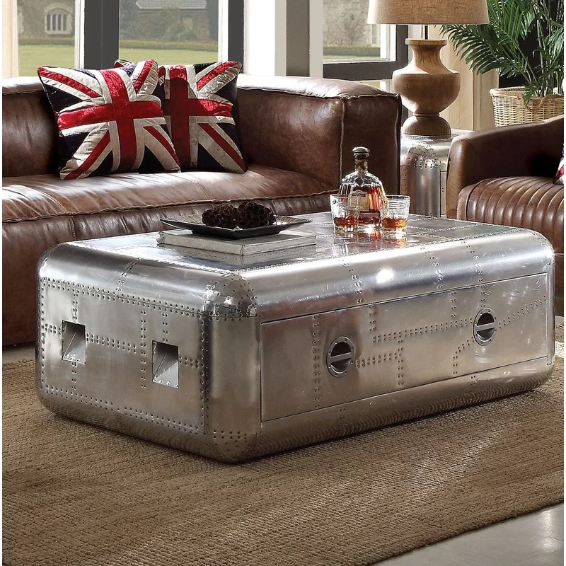 trunk aluminum coffee table with storage