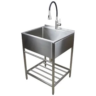 25 l x 22 w free standing laundry sink with faucet