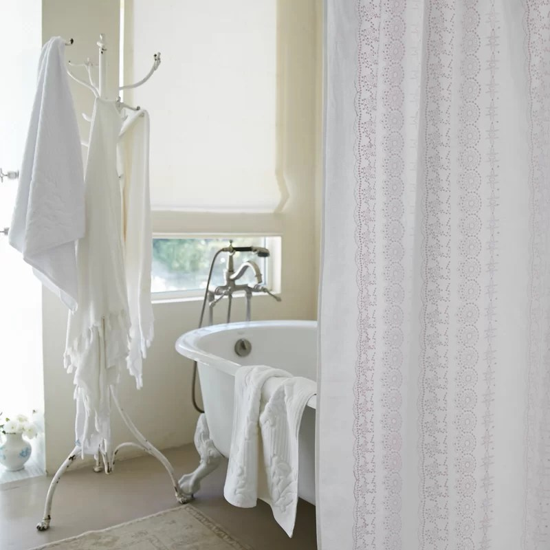 boho embroidered linen single shower curtain