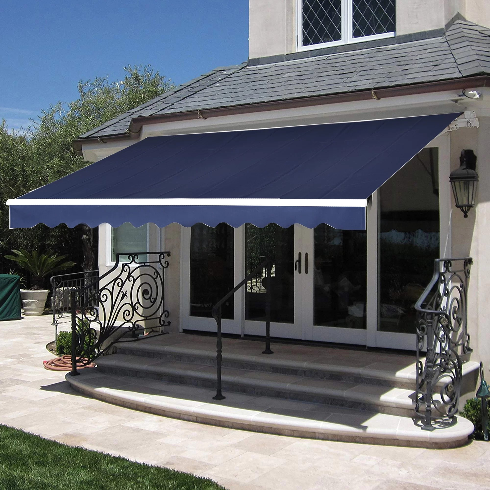 sparta 12 ft w x 10 ft d fabric retractable standard door awning