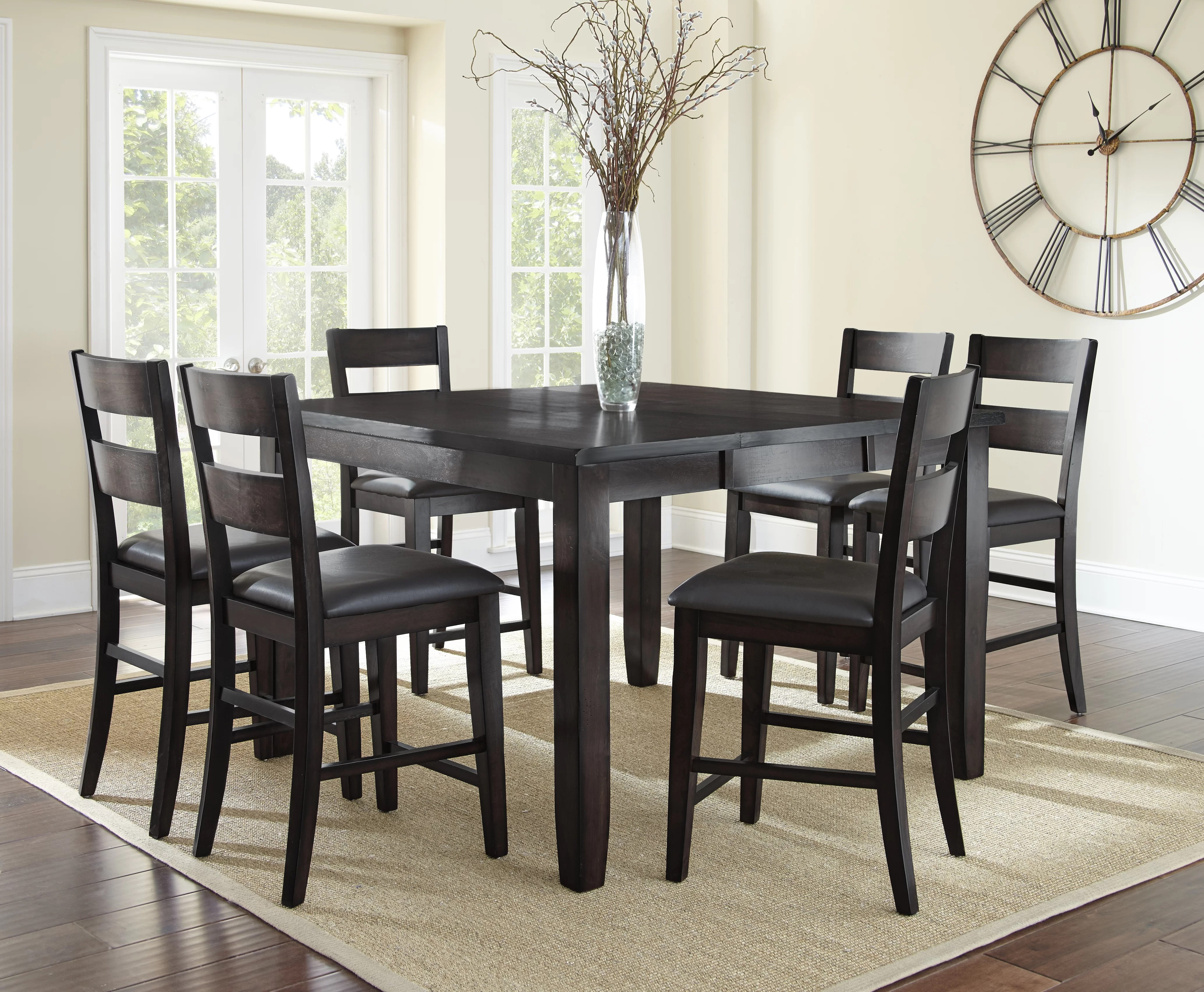 Alcott Hill Wynwood 7 Piece Counter Height Solid Wood Dining Set Reviews Wayfair