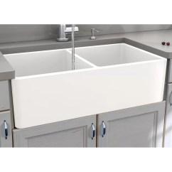 Kitchen Sink Farmhouse Lowes Tile Nantucket Sinks Cape 33 L X 18 W Double Basin With Basket Strainer