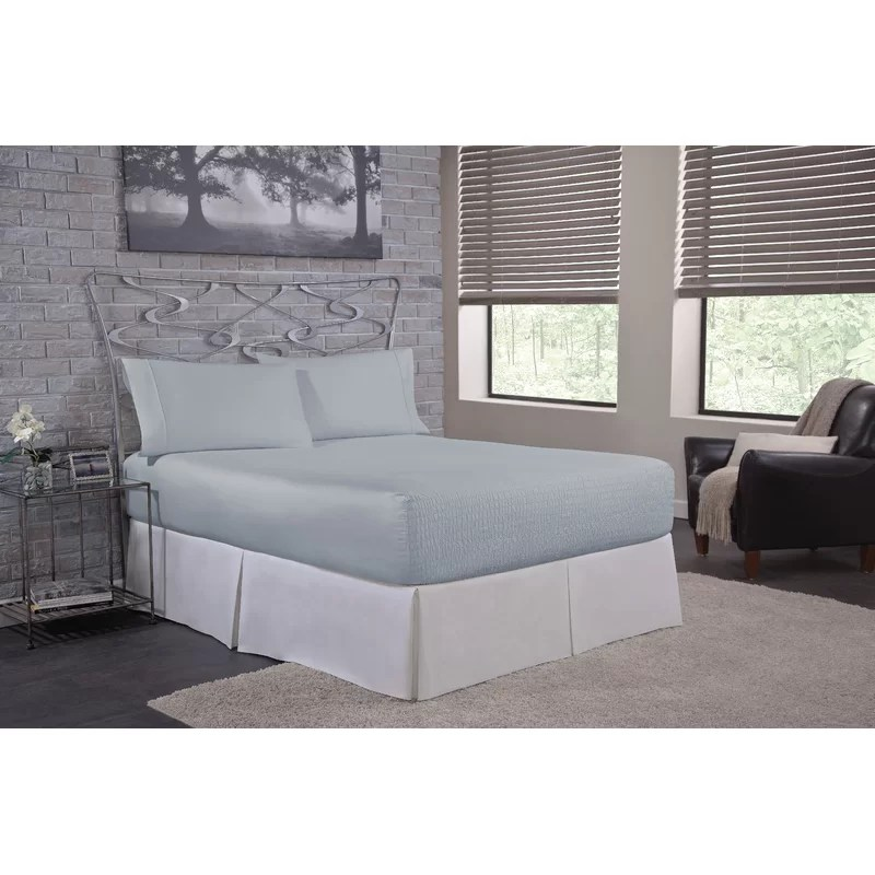 Solid 300 Thread Count Deep-Pocket 100% Cotton Sateen Sheet Set Size: Twin Color: Light Blue