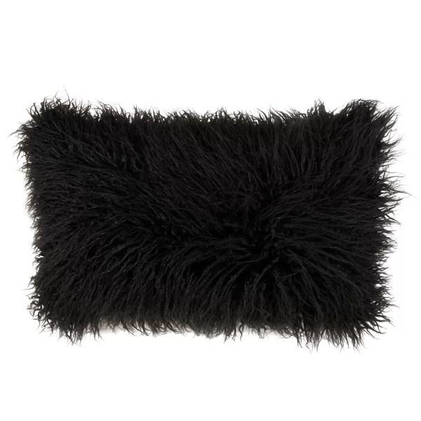black mongolian fur pillow
