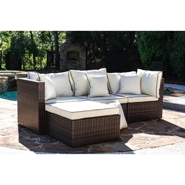 burruss 83 5 wide outdoor reversible patio sectional with cushions