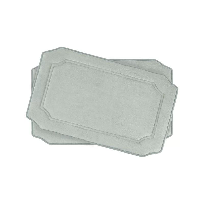 Walden Small Premium Micro Plush Memory Foam Bath Mat Set Color: Light Grey