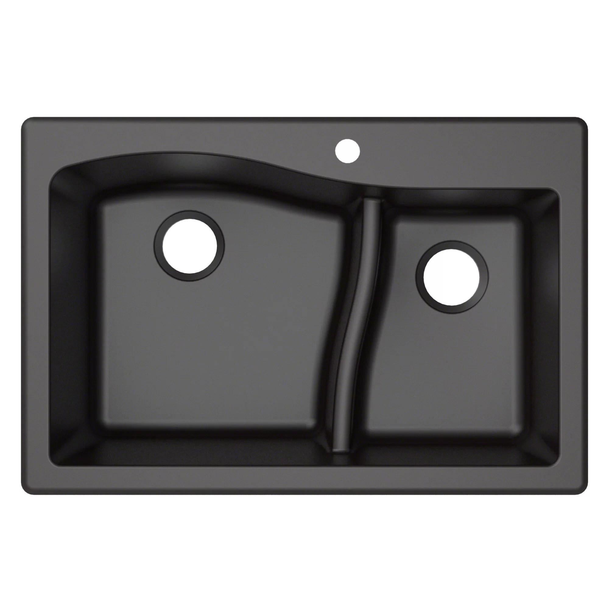 33 x 22 kitchen sink sage green cabinets kraus quarza double basin dual mount reviews wayfair ca