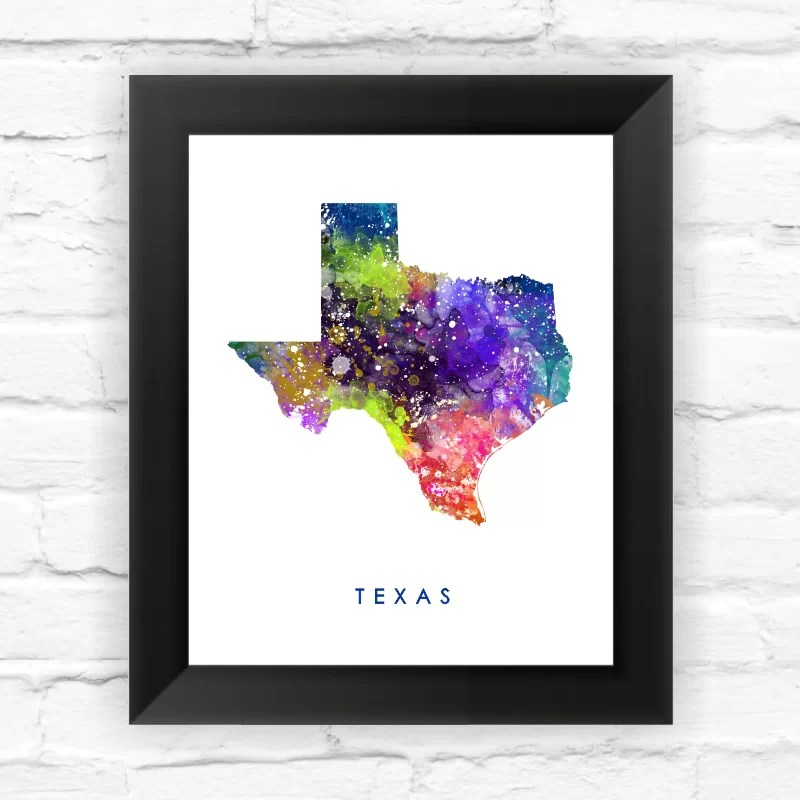 Texas Map Watercolor Framed Graphic Art Size: 11.5 H x 9.5 W x 0.75 D
