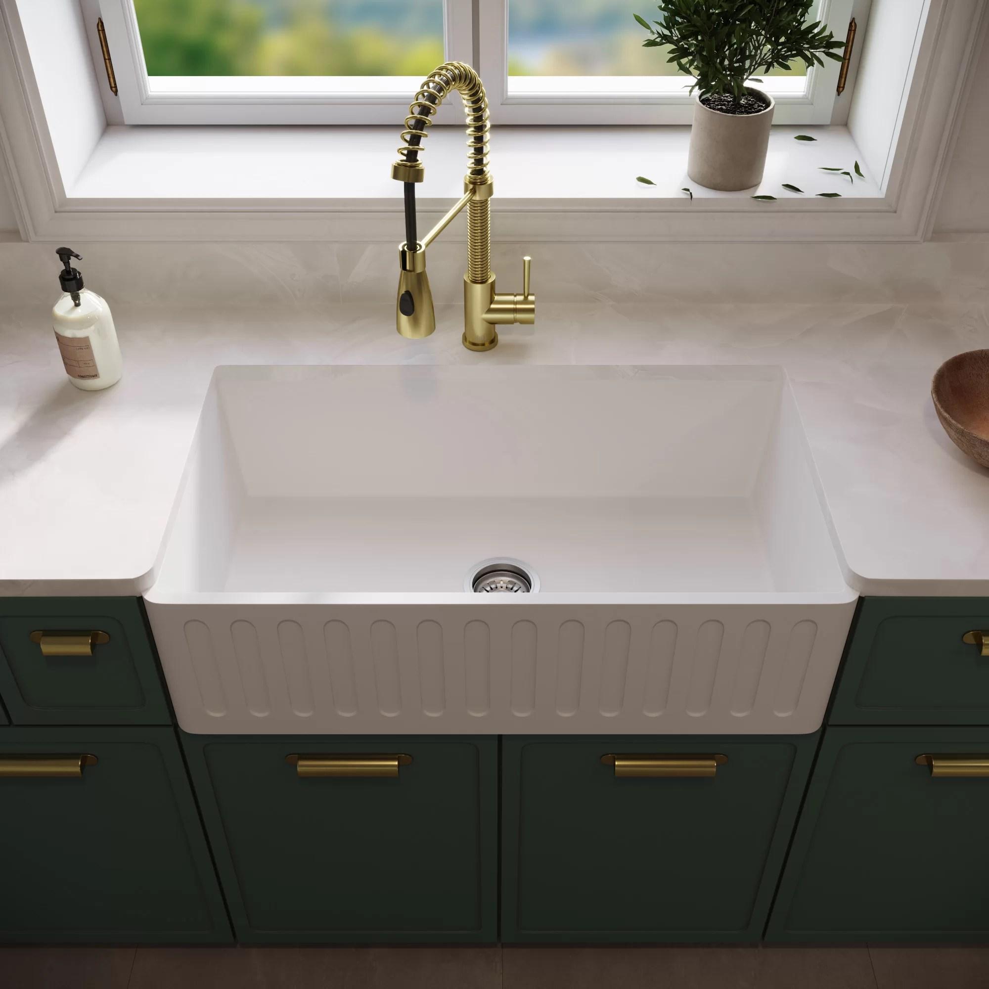 Vigo Matte Stone 33 L X 18 W Farmhouse Apron Kitchen Sink With Basket Strainer Reviews Wayfair