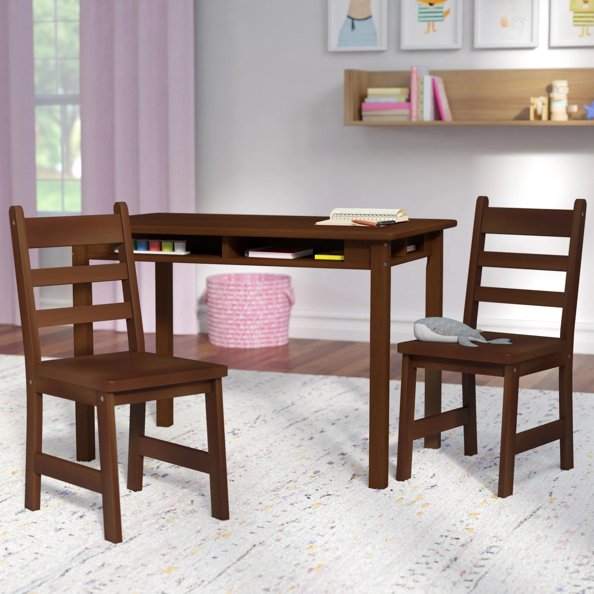 Kids Wood Table And Chairs Alexa Kids 3 Piece Writing Table Chair Set