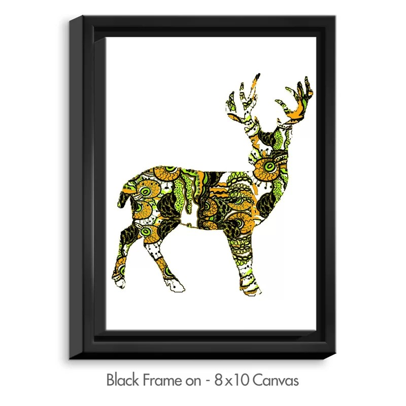Deer II by Susie Kunzelman Graphic Art on Wrapped Framed Canvas Size: 15.75 H x 12.75 W x 1.75 D Frame Color: Black