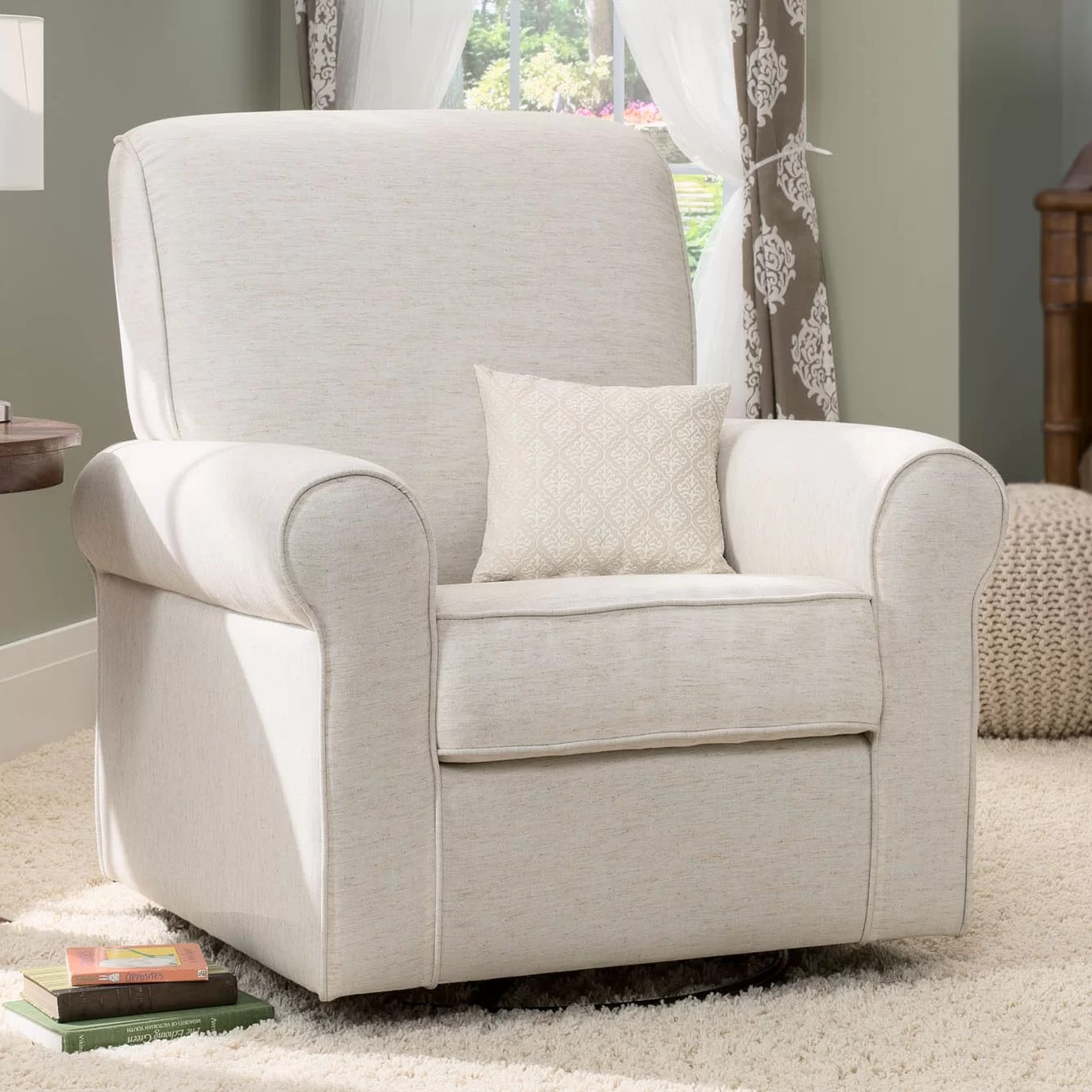 delta avery nursery glider chair grey dining captain chairs children swivel wayfair