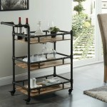 17 Stories Nickolas Rustic 3 Tier Wood And Metal Bar Cart Wayfair