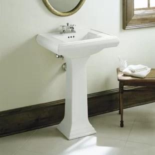 memoirs ceramic 24 pedestal bathroom sink with overflow