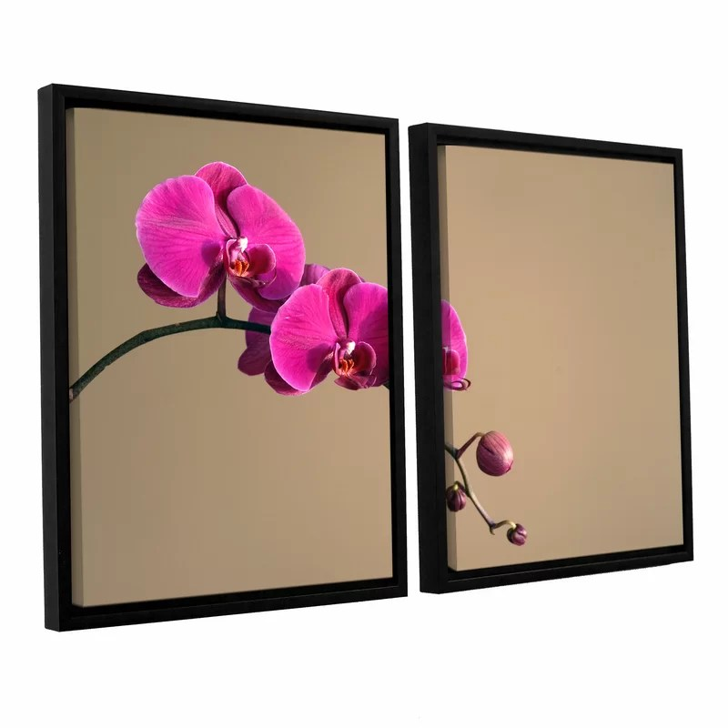 Magenta Orchid by Elena Ray 2 Piece Photographic Print on Wrapped Canvas Set Size: 18 H x 28 W x 2 D