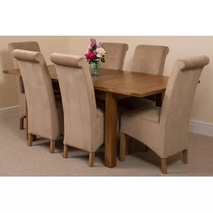 oak dining set 6 chairs salon chair covers black table and fabric wayfair co uk quickview 0 apr financing
