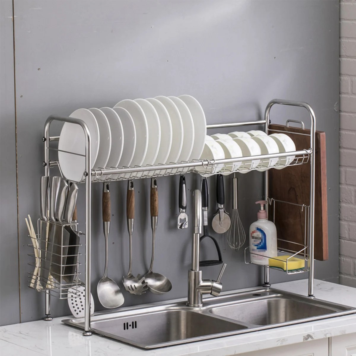 stainless steel kitchen over the sink dish rack