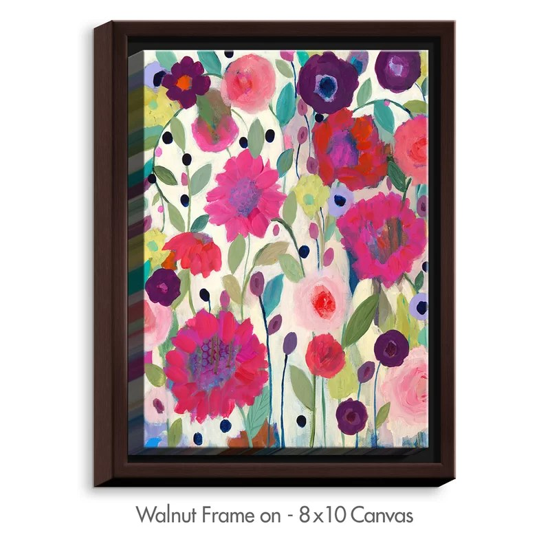 Spirit Weaver Flowers by Carrie Schmitt Painting Print on Wrapped Framed Canvas Size: 21.75 H x 17.75 W x 1.75 D Frame Color: Walnut