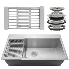 Single Bowl Stainless Kitchen Sink Window Coverings Akdy 18 Drop In Top Mount Steel W Adjustable Tray And Drain Strainer Kit Reviews Wayfair Ca