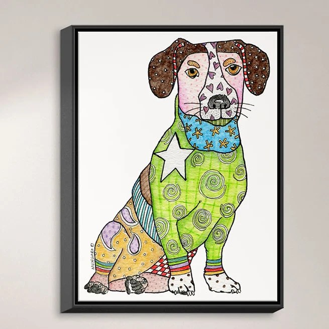 Jack Russell by Marley Ungaro Painting Print on Wrapped Framed Canvas Size: 25.75 H x 19.75 W x 1.75 D Frame Color: Black