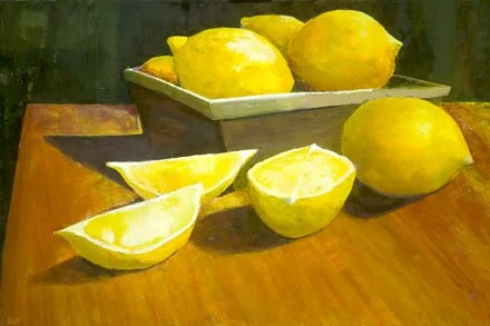 Lemons 01 by Susan Fehlinger Painting Print on Wrapped Canvas Size: 16 H x 24 W x 1.5 D
