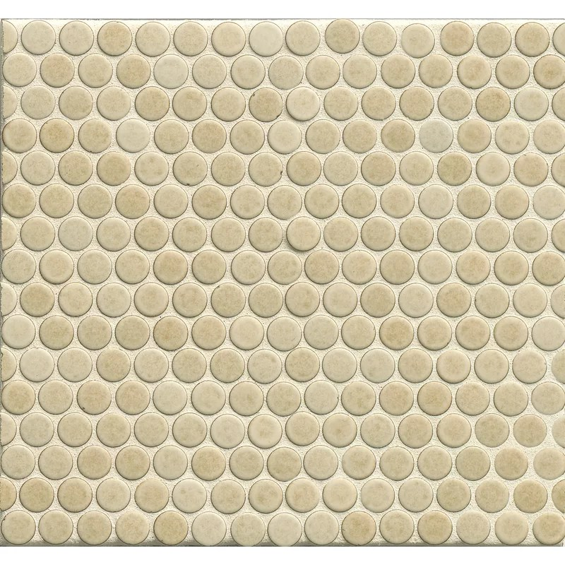 360 penny rounds 12 x 12 porcelain mosaic tile in beige