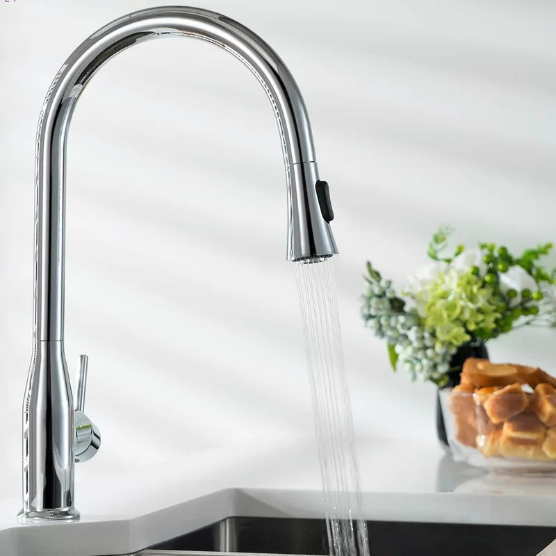 napa lead free solid brass pull down single handle kitchen faucet with optional soap dispenser