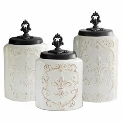 Kitchen Jars Hardware For Cabinets Canisters Birch Lane Fleur De Lis 3 Piece Canister Set